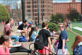 Millennials hanging out at Duquesne University.