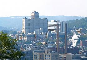 View of Allegheny General Hospital and surrounding neighborhoods from Frank Curto Park along Bigelow Blvd.