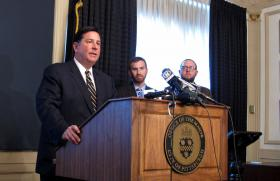 Pittsburgh Mayor Bill Peduto, City Councilman Dan Gilman and Policy Manager Matt Barron discuss a request to the PUC that they change their rules to make room for ride-share services such as Lyft and Uber.