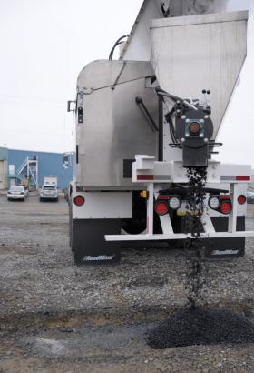 Asphalt mixture from a Road Mixer truck