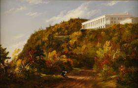 Thomas Cole (1801–1848), Catskill Mountain House, c. 1845–47. Oil on canvas, 22 ¼x 30 ¾ x 5 ¼ inches. Courtesy of The Warner Foundation and Warner Collection of American Art.