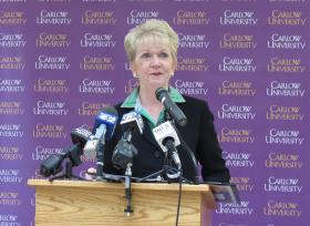 Carlow President Suzanne K. Mellon announced the school's first men's basketball team.