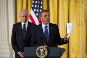 President Barack Obama, with Vice President Joe Biden, announcing a special task force to Protect Students from Sexual Assault. Katz says men in positions of power can influence social views of sexist.