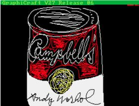 Andy Warhol's early computer rendition of his iconic soup can.