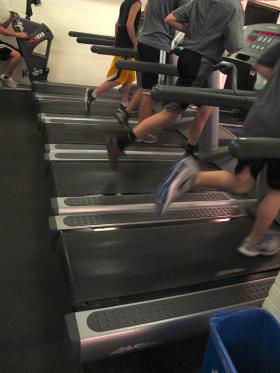 Students at North Allegheny Intermediate School run on treadmills as a part of their aerobic fitness training.