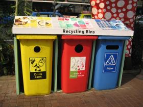 Recycling bins are becoming more common at businesses and institutions like colleges, who are trying to become more environmentally conscious.