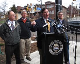 Mayor Bill Peduto is calling on city crews to address 311 pothole complaints within three business days. Peduto was joined by Department of Public Works Director Mike Gable (left), DPW Supervisor Bill Crean and City Operations Chief Guy Costa.