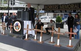 Jack Shea, president of Allegheny County Labor Council, commemorates Workers Memorial Day, honoring those killed, injured or sickened on the job.