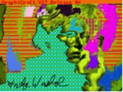 Andy2, 1985. A self-portrait the artist made on an Amiga 1000 computer.