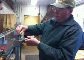 Third generation syruper Jason Blocher works in the sugar house at Milroy Farms, Salisbury, Pa.