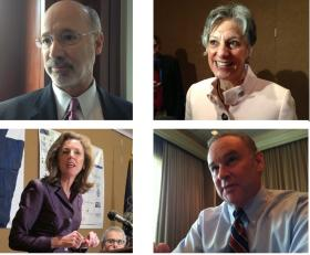The four Democrats running for Pennsylvania Governor (upper Left to lower right- Tom Wolf, Allyson Schwartz, Katie McGinty, Rob McCord) make one last push for votes ahead of Tuesday's primary.