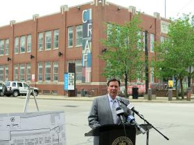 Mayor Bill Peduto announces the naming of Pittsburgh's Strip District as a National Historic District.