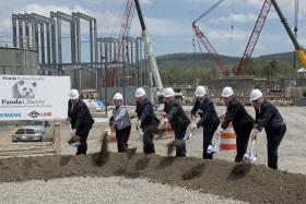 Gov. Tom Corbett, Sen. Gene Yaw (R-Bradford), Rep. Tina Pickett (R-Bradford) and other state and local officials partake in the groundbreaking of the new power plant.