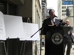 Mayor Bill Peduto announces the restoration of the Skinny Building and the Roberts Jewelers Building downtown.