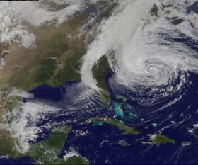 A NASA satellite image of Hurricane Sandy as it rolled up the Eastern seaboard in 2012 and wreaked havoc on the Mid-Atlantic states.