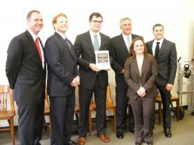 District Attorney Stephen Zappala donated ten books to the Duquesne University Law students.