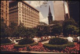 A vintage photo of Mellon Square in Downtown Pittsburgh