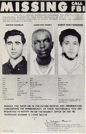 Missing Persons poster issued by the FBI on June 29, 1964, shortly after the men went missing.