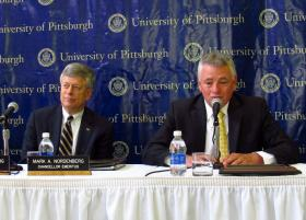 Pitt Chancelor Mark Nordenberg attended his final Board of Trustees meeting as head of the institution. Board Chairman Stephen Tritch thanked him for his service.