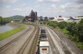 A train approaches the blast furnaces of former Bethlehem Steel plant.