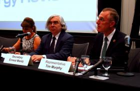 U.S. Energy Secretary Ernest Moniz and Congressman Tim Murphy addressed the importance of infrastructure for the future of natural gas development at a public meeting at CMU.