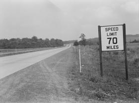 A speed limit 70 miles sign along the Pennsylvania Turnpike in 1942. The limit has since decreased to 65 mph, and 55 mph in some areas, but that can soon change.