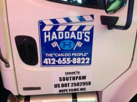 """A truck leased from a local vendor sits at the read on the set of the film """"Southpa,"""" which id being filmed this week in the South Hills."""