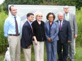 Representatives from Pittsburgh Parks Conservancy, ALCOSAN and the Pittsburgh Water and Sewer Authority, announced the construction of two green rain water management projects.