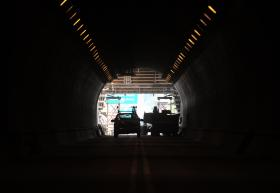 A view from inside the inbound Liberty Tunnel during construction last summer.