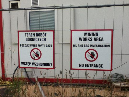 Signs at the test drill site in the Northern Province.