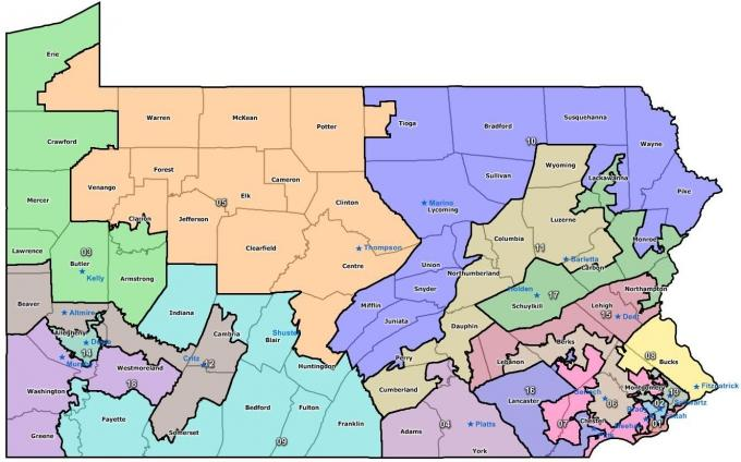 Pennsylvania legislators have sent in a plan to change the state's congressional district boundaries.