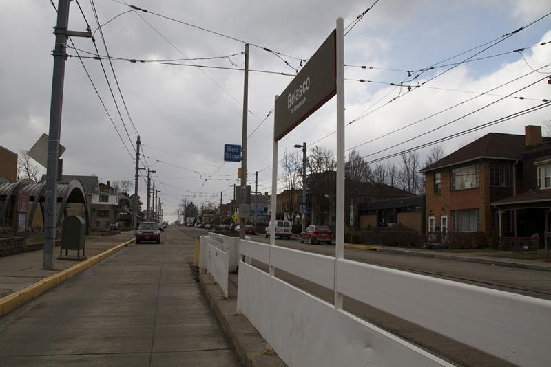 The Belasco T Stop in Beechview is situated on a cement island in the middle of Broadway