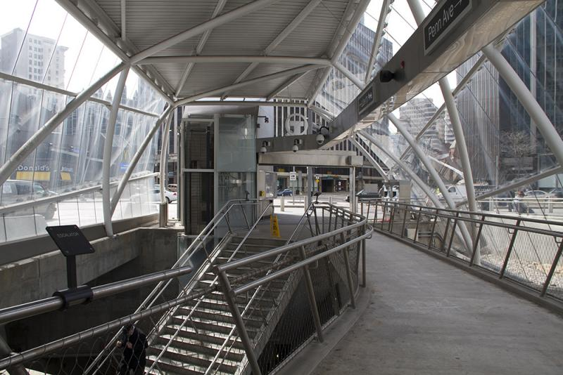 Light Rail stops in the Free Zone, such as the sleekly designed Gateway Station Downtown, are highly visible