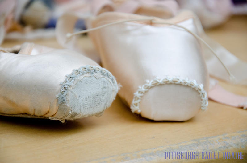 New and broken in pointe shoes