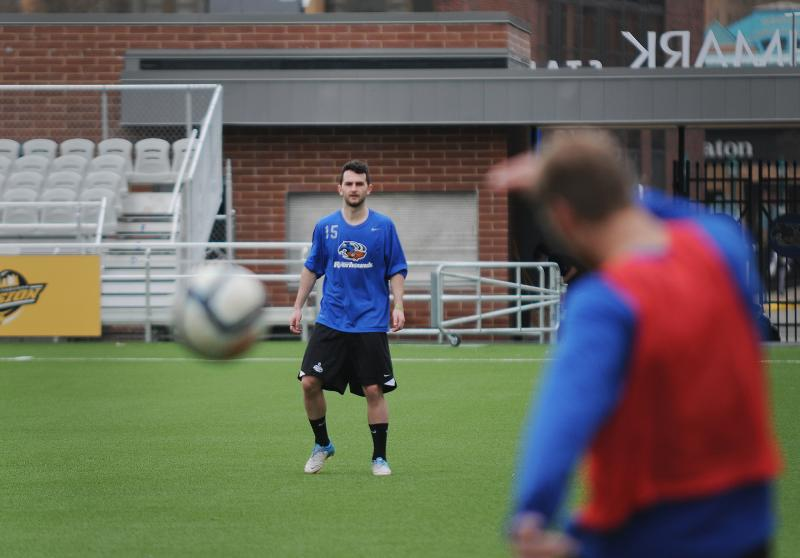 Pittsburgh Riverhounds team member Andrew Mashall practices Thursday morning at Highmark Stadium. The team will play its home opener on Saturday against the Harrisburg City Islanders.