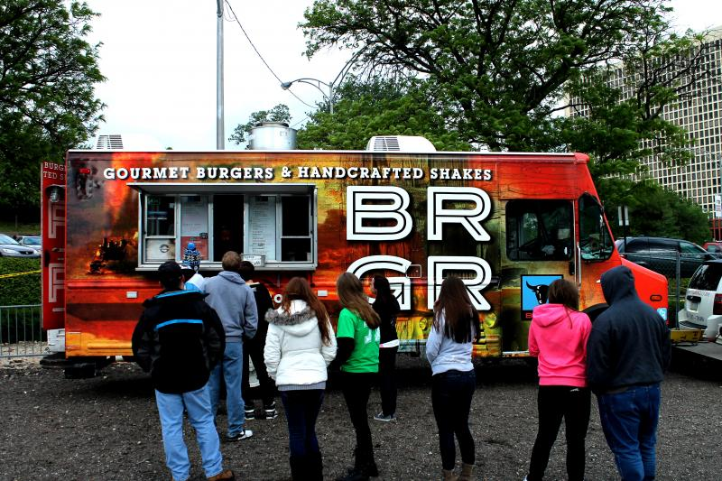 BRGR's bright and bold food truck brings handcrafted burgers and shakes to hungry Pens fans.