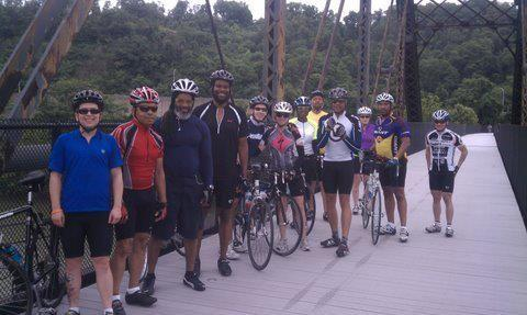 Members of the Pittsburgh Major Taylor Cycling Club in McKeesport