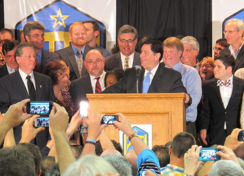 Pittsburgh City Council Bill Peduto speaks to supporters Tuesday night after winning the Democratic mayoral primary.