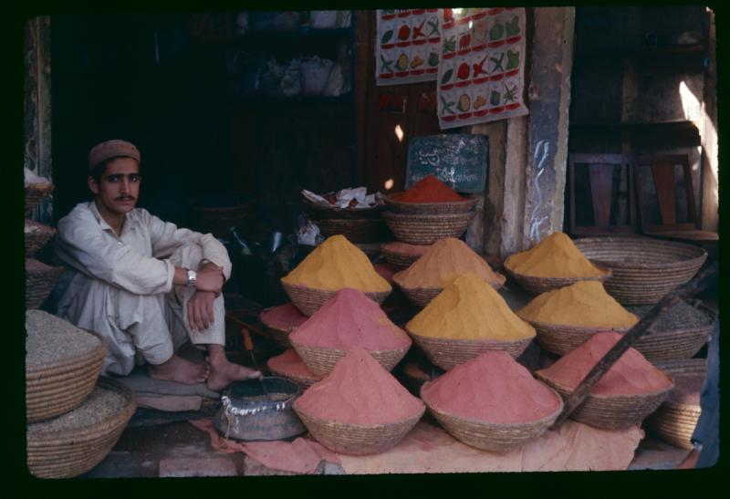 Spices sold in a market along the Silk Road