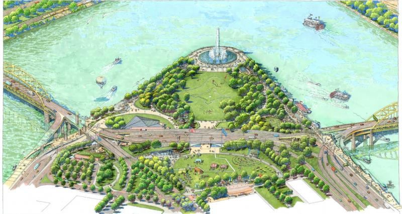 A rendering of the renovated Point State Park.