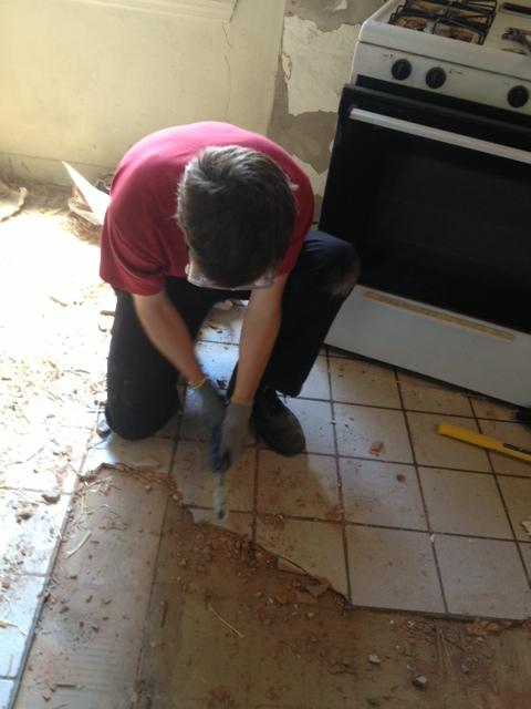 Scraping up kitchen tiles bit by bit