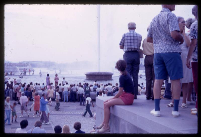 The fountain's original opening in 1974 drew a crowd.