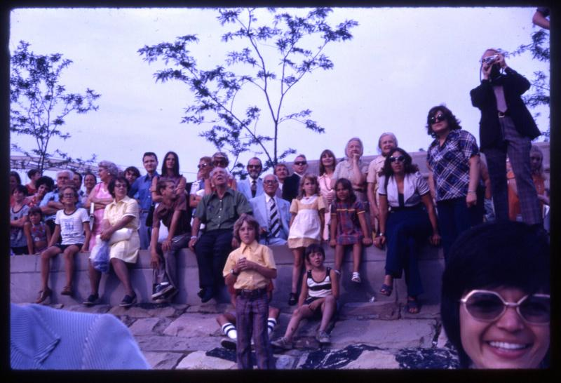 A crowd of people watch at the 1974 grand opening of the Point State Park fountain.