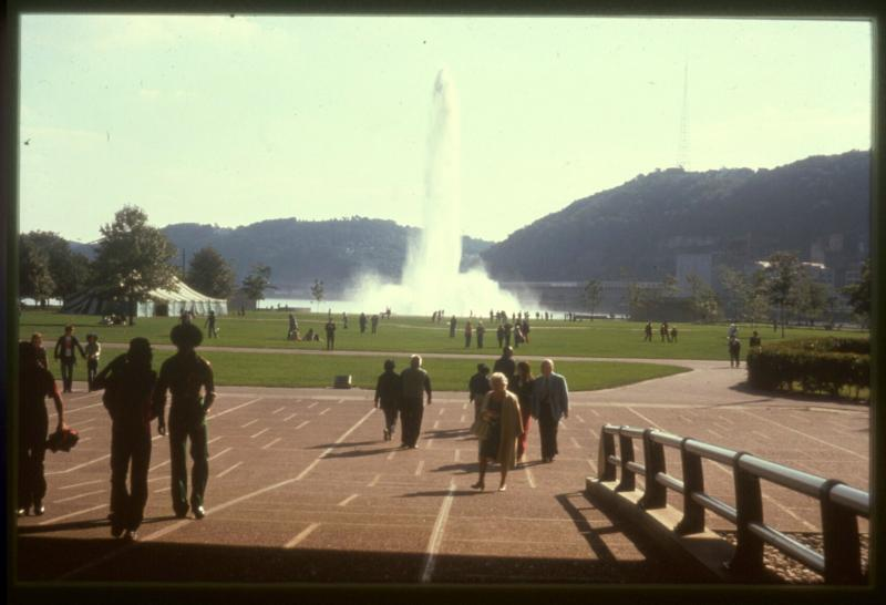 This 1974 photo shows the fountain at its full height.