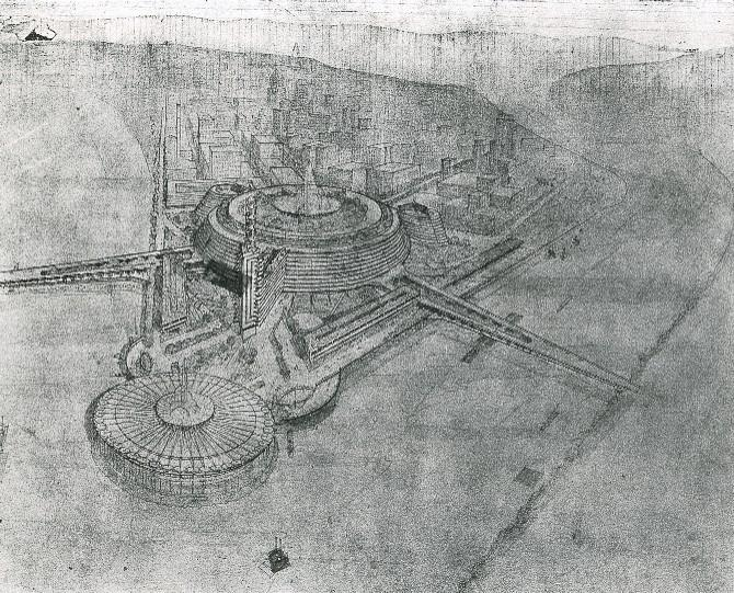 Architect Frank Lloyd Wright's 1947 plan for the Point Park Civic Center had 13 levels, was 175 feet high and had 4.5 miles of circular auto ramp, lined with shops and other features. The proposed urban development plan was turned down.