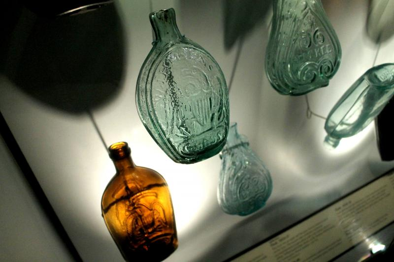 "The Heinz History Center exhibition, ""Glass: Shattering Notions,"" features one of the best regional collections of glass made in western Pennsylvania. These flasks are one of the common items that would have been made in Pittsburgh in the 1800s."