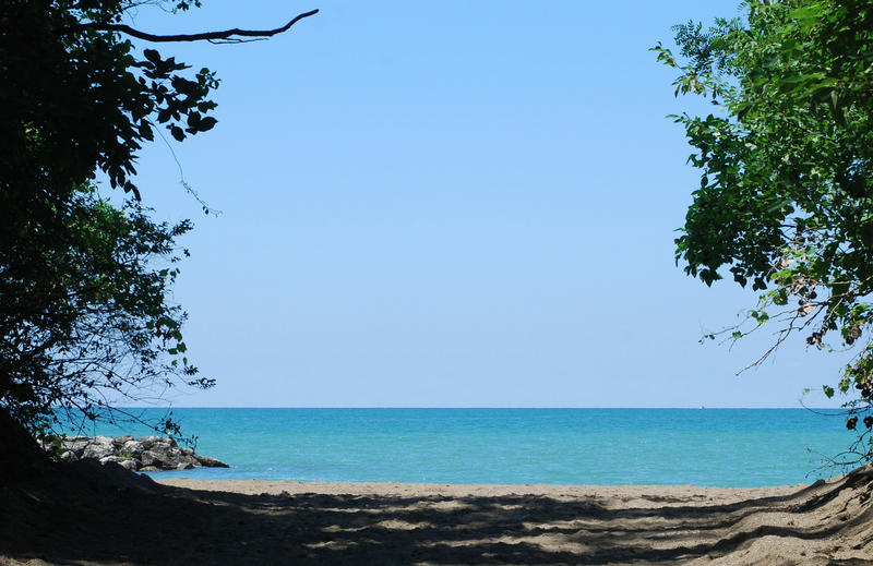 View from the entrance to Presque Isle Beaches