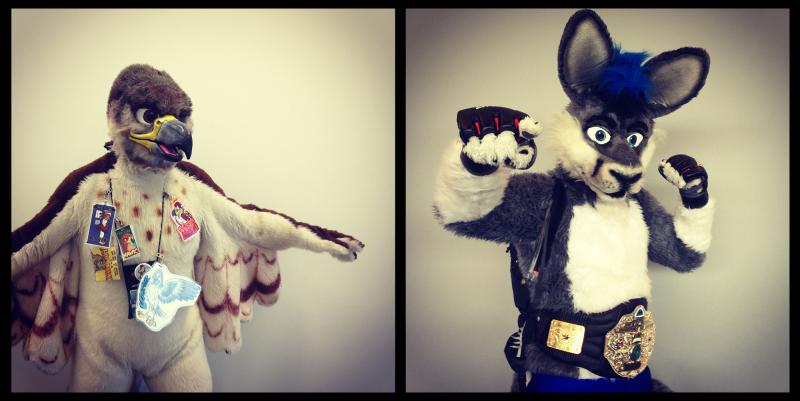 Left: Victor Redtail, from Kansas. Right: Mykiroo, the MMA fighting kangaroo, from Connecticut.