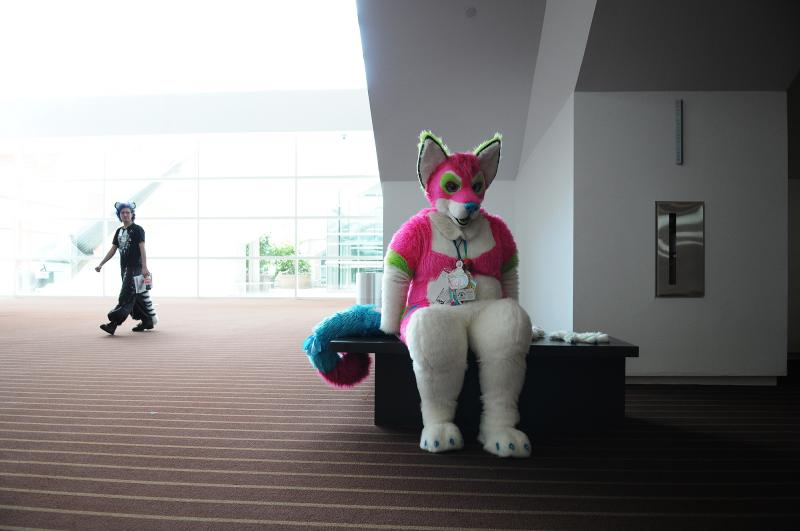 Resting for a moment during Anthrocon.