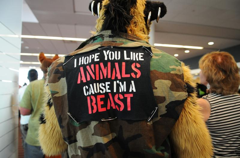A message delivered via one fursuiter's back patch.